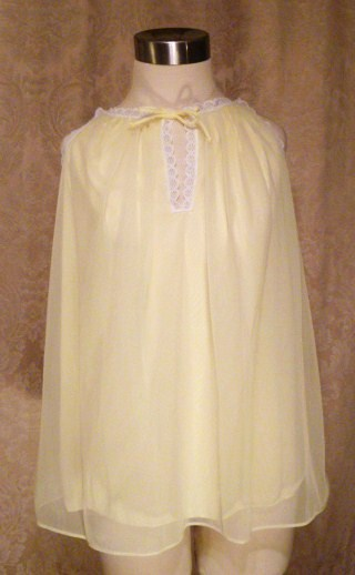 Vintage 1960s French Maid Yellow Chiffon Baby Doll Nightgown (3)
