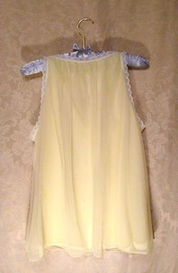 Vintage 1960s French Maid Yellow Chiffon Baby Doll Nightgown (7)