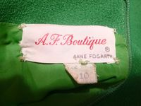 1960s Vintage AF Boutique Anne Fogarty kelly green long sleeve french cuff tunic dress turtle cufflinks  (11)