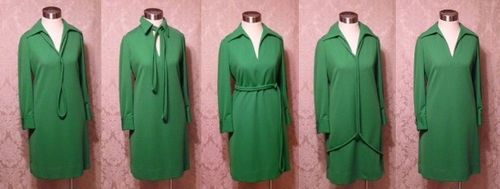 1960s Vintage AF Boutique Anne Fogarty kelly green long sleeve french cuff tunic dress turtle cufflinks