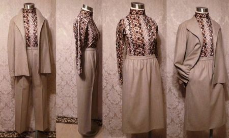1970s Vintage Halston 3 piece khaki wool suit jacket skirt pants .JPG