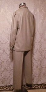 1970s Vintage Halston 3 piece khaki wool suit jacket skirt pants (8)