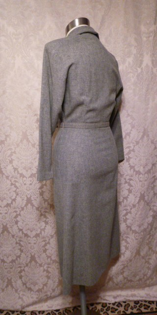 1940s vintage gray wool dress bead embroidery button detail (7)