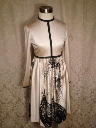 Aubrey Beardsley vintage 1970s dress The Peacock Skirt Salome print (6)
