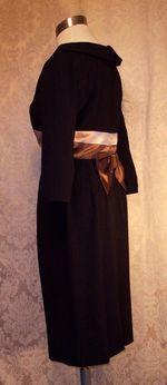 1950s Black Wiggle Dress Silk Satin Bow Detail from C. Crawford Hollidge of Boston  (7)