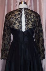 Albert Nipon Black  Lace Silk Illusion Neckline Party Dress (3)