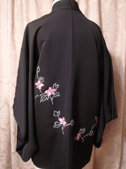 Vintage black Haori Kimono Jacket  (2)