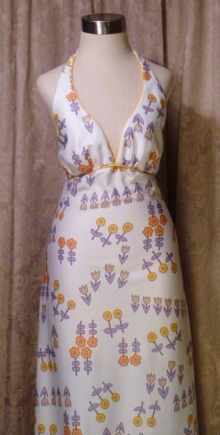 Julie Miller California 1970s vintage halter dress & scarf (4)