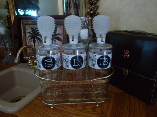 Vintage Decanter Pump Bar Set of 3 Glass Bottles