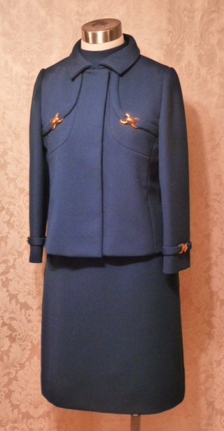 1960s vintage royal  navy blue dress suit Betty of Providence  (19)