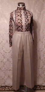 1970s Vintage Halston 3 piece khaki wool suit jacket skirt pants (9)