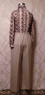 1970s Vintage Halston 3 piece khaki wool suit jacket skirt pants (11)