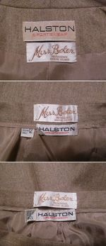 1970s Vintage Halston 3 piece khaki wool suit jacket skirt pants