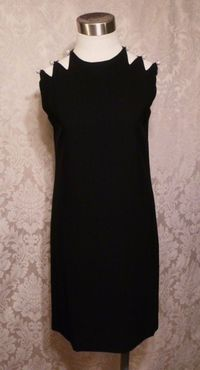 1960s Vintage Harvey Berin Karen Stark lbd black cocktail dress rhinestone buttons cut out shoulders (5)