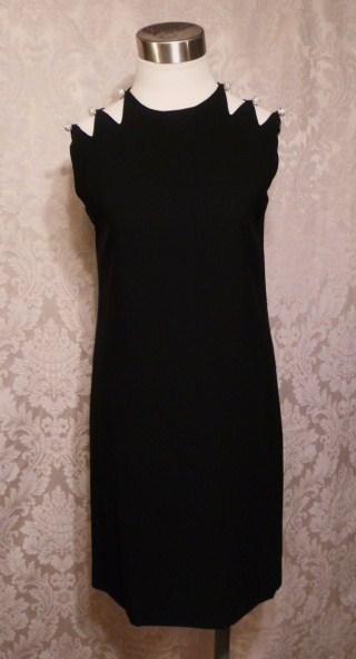 1960s Vintage Harvey Berin Karen Stark lbd black cocktail dress rhinestone buttons cut out shoulders (5)