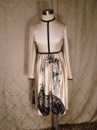 Vintage Aubrey Beardsley The Peacock Skirt Salome print dress (2)