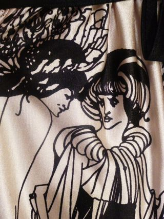 Vintage Aubrey Beardsley The Peacock Skirt Salome print dress (4)