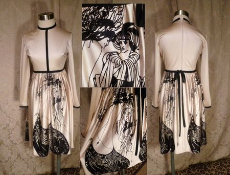 Vintage Aubrey Beardsley The Peacock Skirt Salome print dress