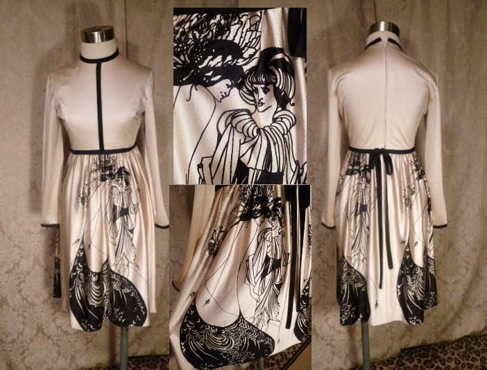 Vintage Aubrey Beardsley The Peacock Skirt Salome print dress