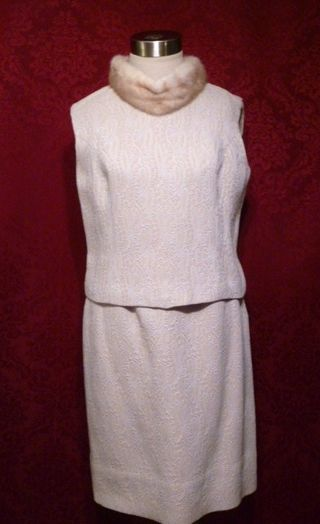 1960s vintage A Golet Original winter white ivory brocade three piece suit blond mink collar