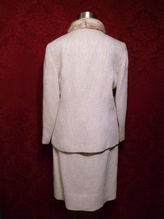 1960s vintage A Golet Original winter white ivory brocade three piece suit blond mink collar (7)