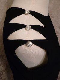 1960s Vintage Harvey Berin Karen Stark lbd black cocktail dress rhinestone buttons cut out shoulders (12)