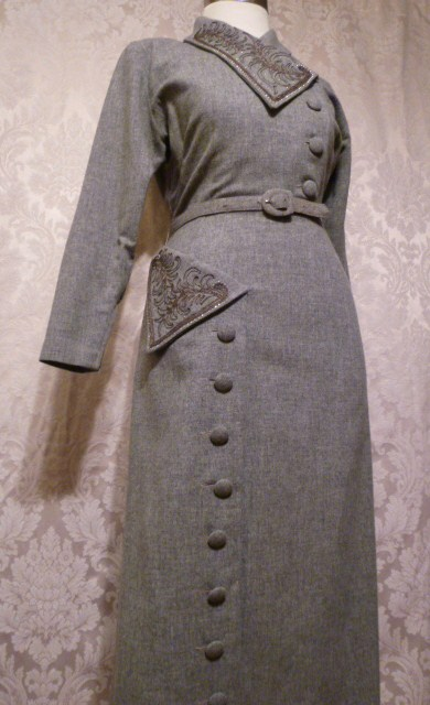 1940s vintage gray wool dress bead embroidery button detail