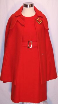 Vintage 1960s orange sheath dress & belt & cape ensemble  (7)