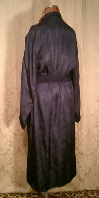 1940s navy blue silk jacquard men's dressin gown from Shepard's Men's Store Providence, RI.  (3)