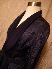 1940s navy blue silk jacquard men's dressin gown from Shepard's Men's Store Providence, RI.  (7)