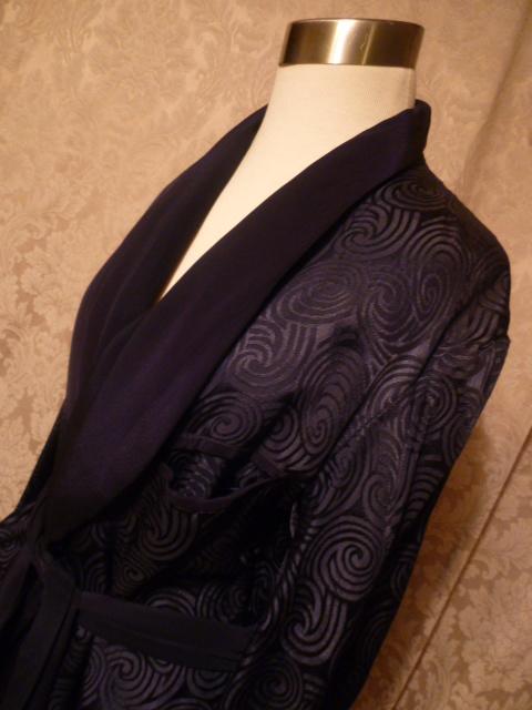1940s navy blue silk jacquard men's dressin gown from Shepard's Men's Store Providence, RI.  (7)