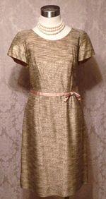 Gold metallic stripe 1950s vintage cocktail dress (2)