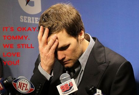 Tom Brady Super Bowl 2012 Post Game Interview Picture -It's Okay Tommy, We Still Love You! by The Red Velvet Shoe