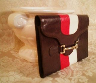 Vintage filene's navy blue pink white equine preppy wallet made in italy (11)
