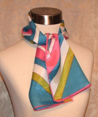 Vintage preppy pink blue white lime green scarf
