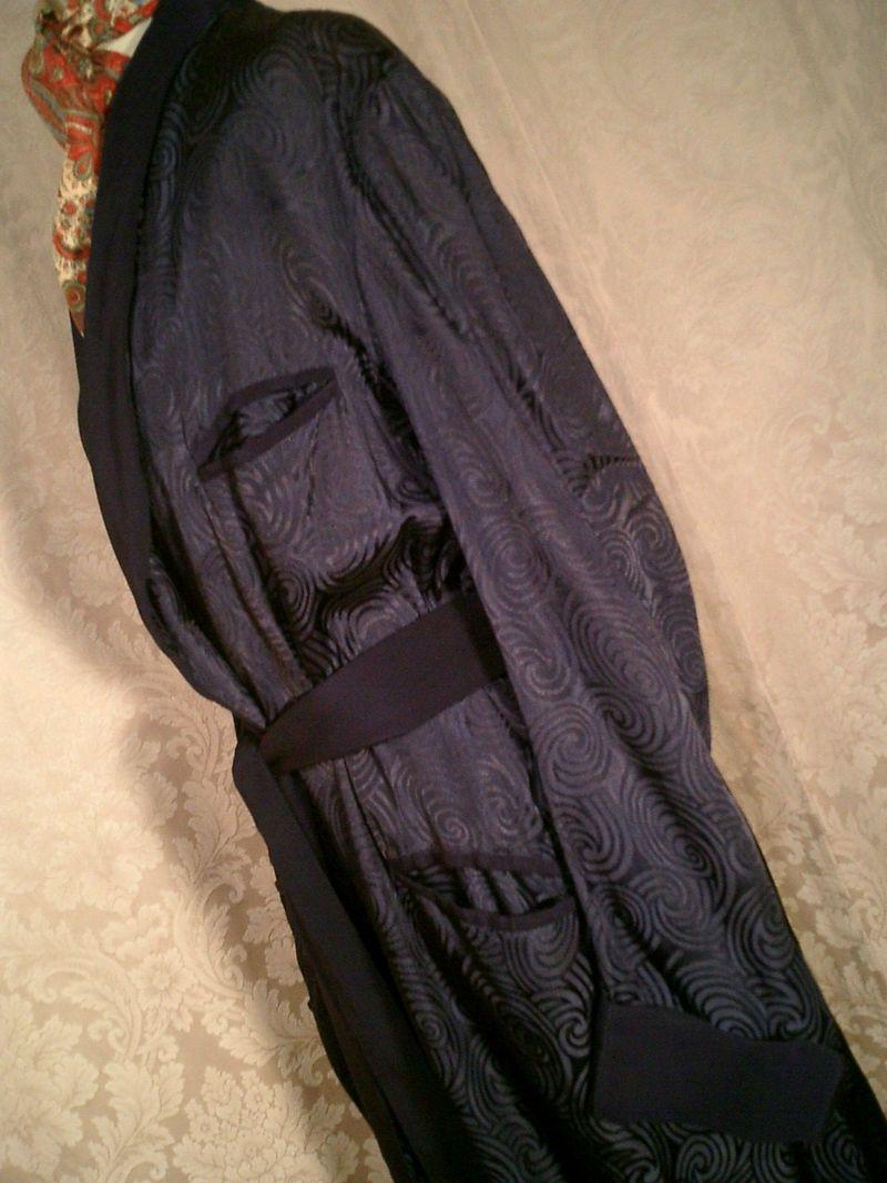 1940s navy blue silk jacquard men's dressin gown from Shepard's Men's Store Providence, RI.  (10)