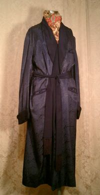 1940s navy blue silk jacquard men's dressin gown from Shepard's Men's Store Providence, RI.  (9)