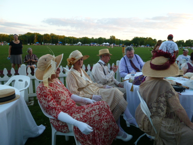 The Commonwealth Vintage Dancers at twilight at The Newport International Polo Grounds