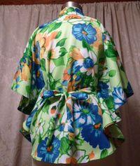 Vintage Pomare Hawaii Kimono Style Batwing Sleeve Blouse  (5)