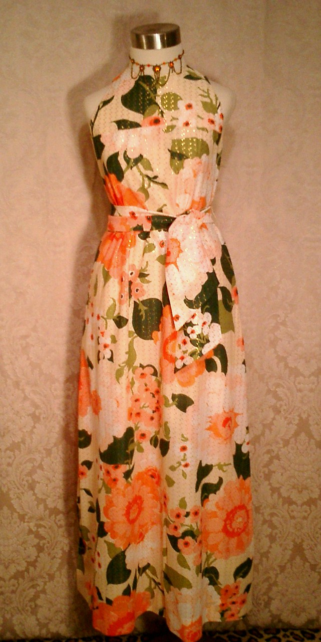 Herbert Laurence vintage 1960s 1970s long floral maxi gown dress (2)