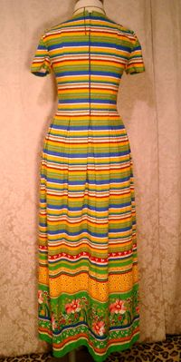 Vintage 1960s 1970s Vibrant Stripes & Floral Print Maxi Dress (5)