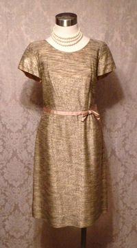 Gold metallic stripe 1950s vintage cocktail dress