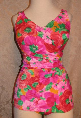 70s Roxanne pink & green floral vintage bathing suit (2)