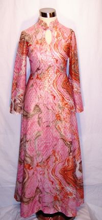 1970s Miss Rubette Pink & Coral Metallic Maxi Dress Keyhole Neck (3)