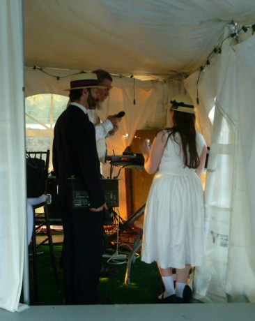 Getting music ready for the Commonwealth Vintage Dancers dance at The Newport International Polo Grounds (4)