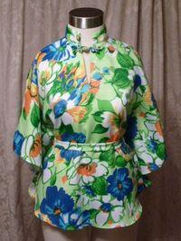 Vintage Pomare Hawaii Kimono Style Batwing Sleeve Blouse