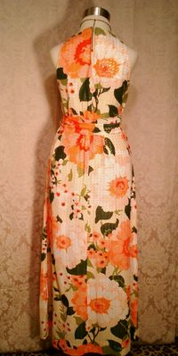 Herbert Laurence vintage 1960s 1970s long floral maxi gown dress (6)