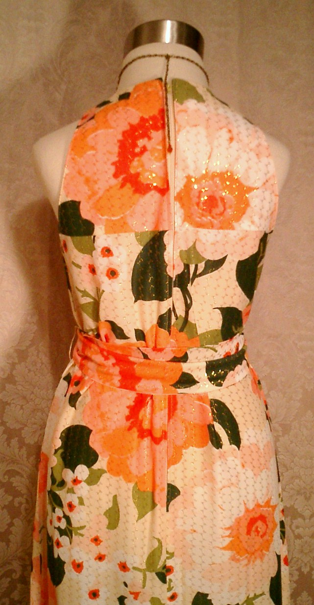 Herbert Laurence vintage 1960s 1970s long floral maxi gown dress (7)