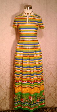 Vintage 1960s 1970s Vibrant Stripes & Floral Print Maxi Dress (2)