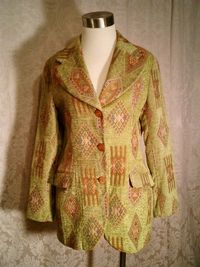 Vintage Henri Bendel New York tapestry velvet brocatelle green blazer (5)